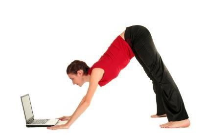 Woman Doing an Online Yoga Class