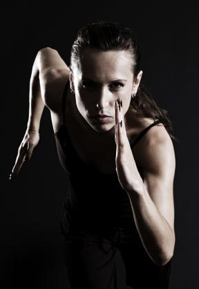 Woman exercising intensely