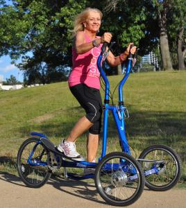 Sherry Johnston riding a StreetStrider