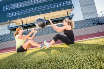 Medicine ball sit up toss