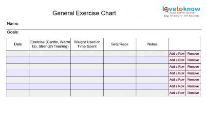 Printable Workout Charts – Blank Workout Sheet