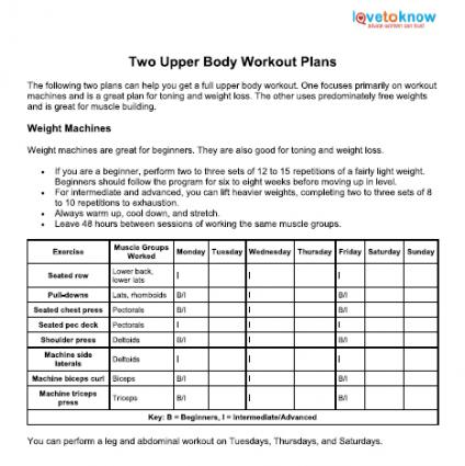graphic about Printable Workout Plans for Men named Higher Overall body Work out Options LoveToKnow