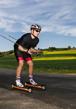 Man roller skiing