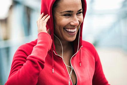 woman smiling during exercise workout