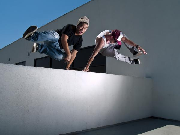 Jumping over a wall