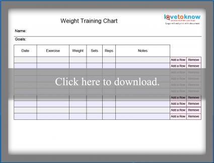 Blank weight training chart