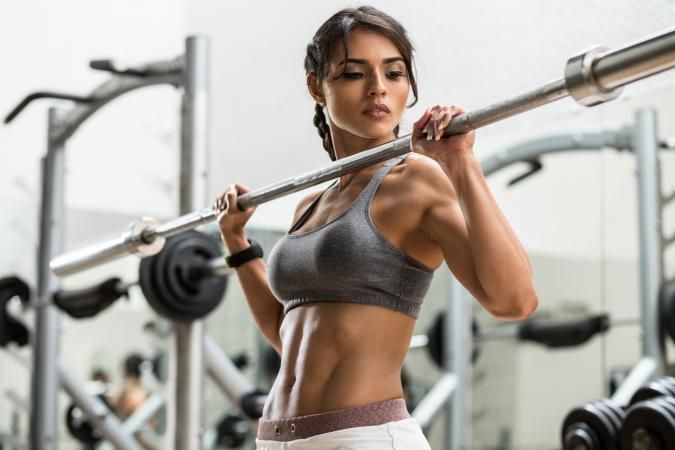 Woman training at gym