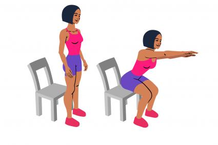 Silhouettes of woman doing chair squats