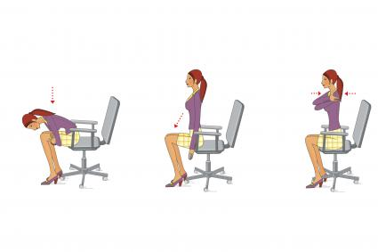 Office worker performs neck exercises