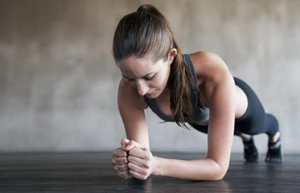 Woman doing a basic plank