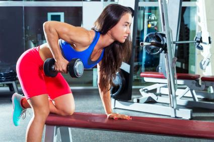 Dumbbell triceps kickback girl