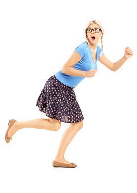 Woman exiting