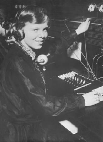 Female switchboard operator