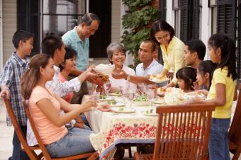 happy family eating outside