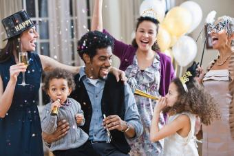 Family celebrating New Year's Eve