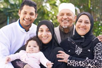 A muslim family enjoying a day outside