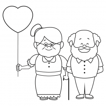 grandparents with balloon line drawing