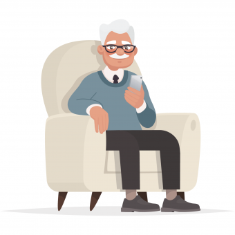 grandpa with cell phone