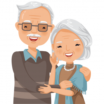 grandparent couple clip art close-up