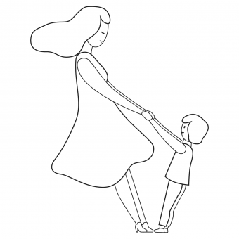 mother and child twirl