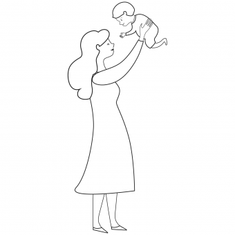 mother lifting young son