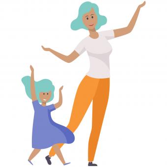 dancing mom and daughter
