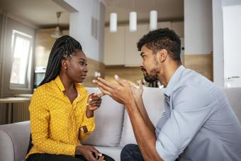 Woman and man resolving their argument