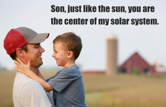 Father and son on their family farm