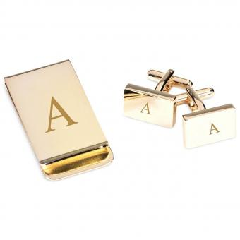 Gold Plated Cufflinks and Money Clip Set