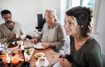 woman talking with family