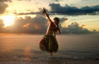 Hawaiian man hula dancing