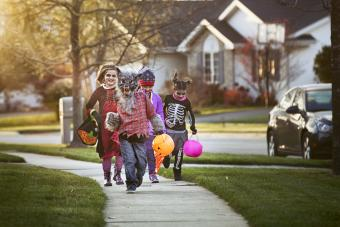 Children trick-or-treating on Halloween