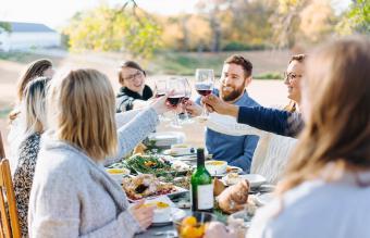 Friends having a thanksgiving picnic
