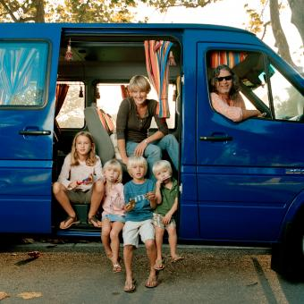 Bohemian family with vehicle