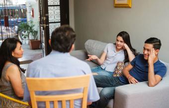 family having a conversation