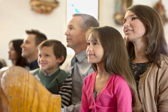 Family sitting together in church