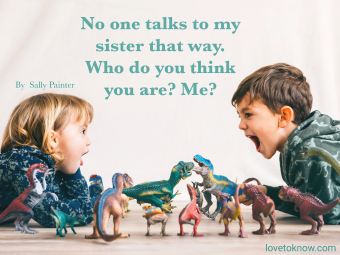 Brother and his little sister playing with toy dinosaurs and don't mess with my family quote