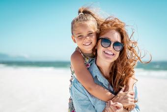 Aunt and niece at a beach