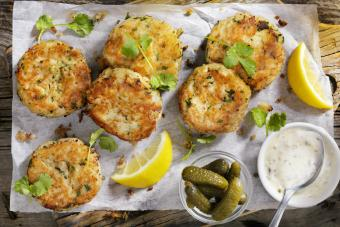 Carb Cakes with Lemon and Tartar Sauce