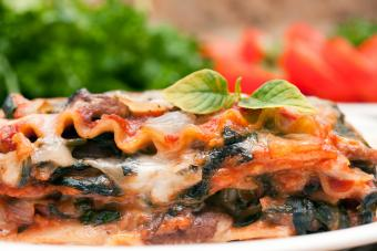 Whole wheat vegetarian lasagna with spinach