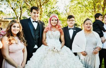 Young woman dressed in quinceanera gown