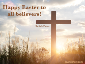 Wooden cross at sunset and Easter message