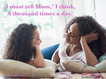 Mother with daughter talking on bed and Mother's day poem
