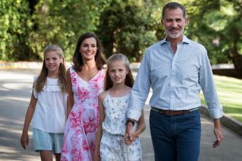 Spanish King Felipe VI and Queen Letizia with their daughters