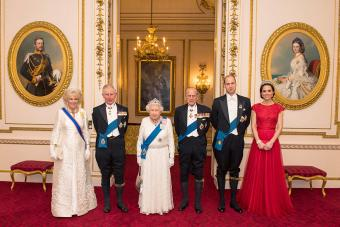 Camilla, Duchess of Cornwall, Prince Charles, Prince of Wales, Queen Elizabeth II, Prince Philip, Duke of Edinburgh, Prince William, Duke of Cambridge and Catherine, Duchess of Cambridge at Buckingham Palace