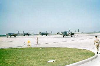 Flight line of B-25s at Randolph Field in 1949. San Antonio, Texas