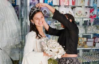 girl in Quinceanera outfit