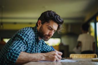 Man writing letter