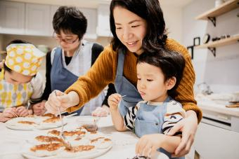 Japanese family making dinner