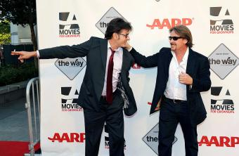 Actor Charlie Sheen and director Emilio Estevez attend AARP's Movies For Grown Ups Film Festival
